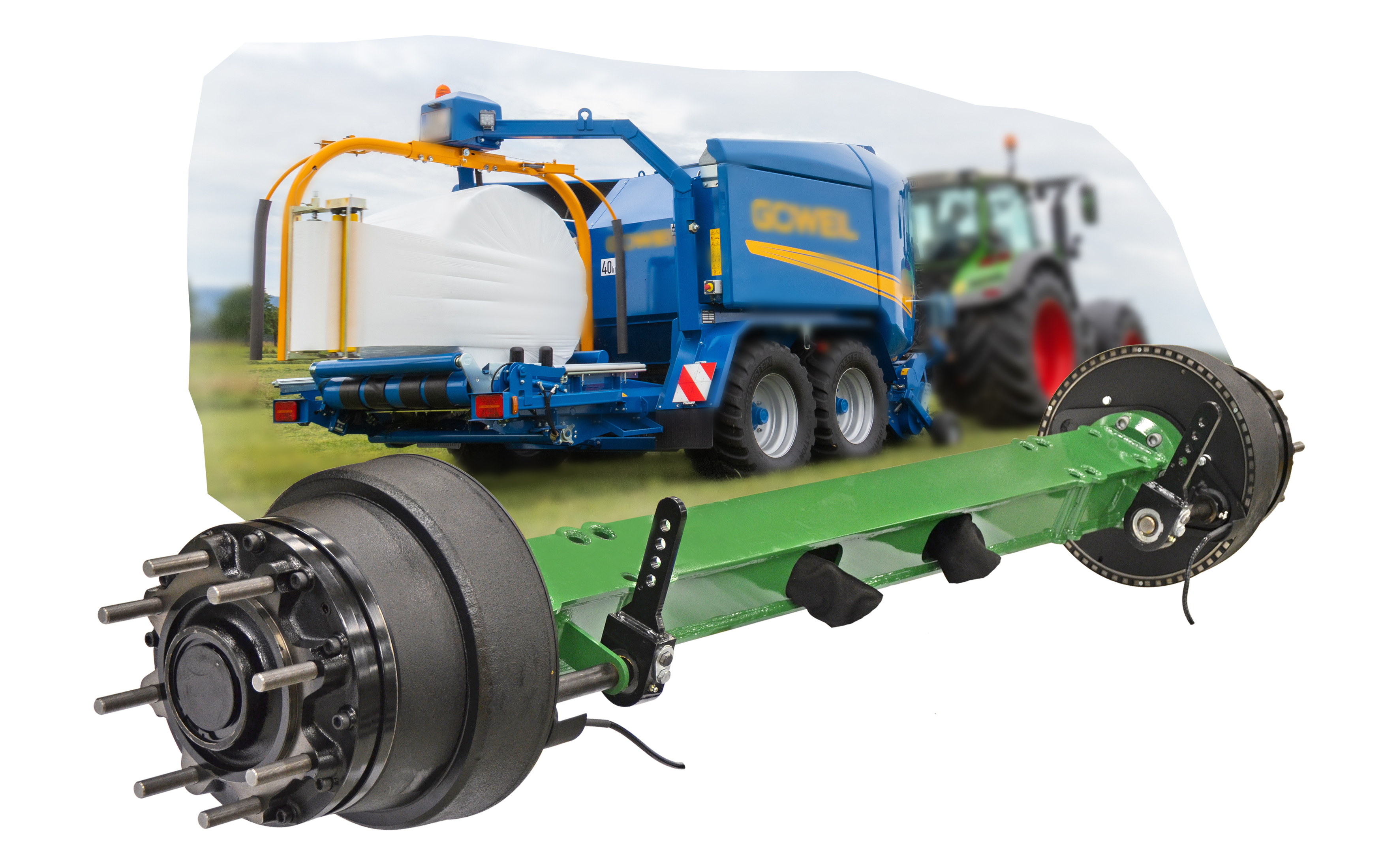Hydraulic trailer drive axle TrailerDriveSystem on round baler